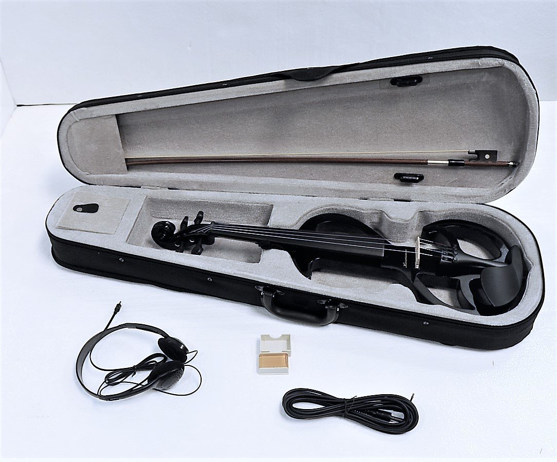 Electric Violin, S Style with bow, case, headphone,cable,rosin & battery