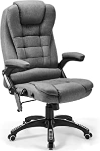 Massage Office Chair Memory Foam, Kealive Tilt Angle Adjustable Ergonomic High Back Reclining Office Chair with Padded Armrests and Lumbar Support Fabric, Rolling Swivel Executive Office Chair