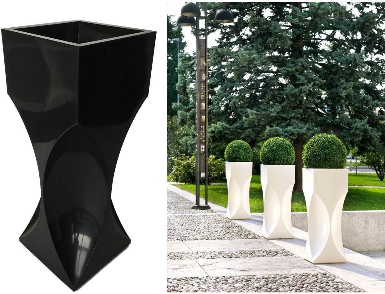 Kreher XXL Design Macetero Venice de plástico en negro. Tamaño ...