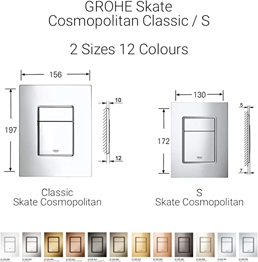 Import Allemagne Grohe Plaque de Commande Wc Skate Cosmopolitan 38732SD0 Finition Inox 38732Sd0