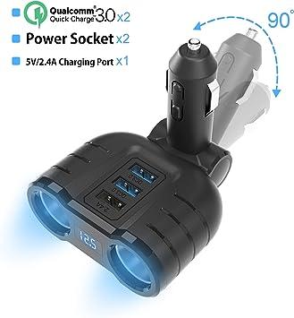Reino Unido 4 Manera Socket Múltiples de mechero de coche Adaptador Cargador USB Divisor 12V 24V