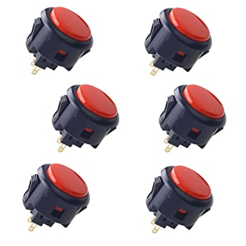 SANWA 6 Piece Original OBSF-30 arcade button 30mm snap in buttons for  arcade joystick controller & video game console (Black & Red)