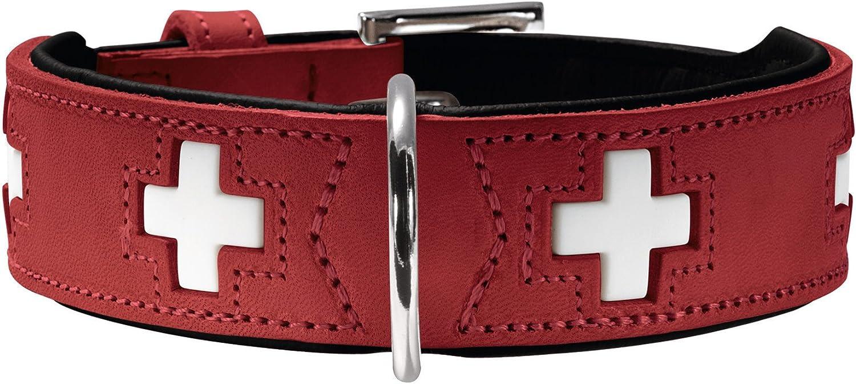 HUNTER SWISS Hundehalsband, mit hochwertigem Leder und schweizer Kreuz Design