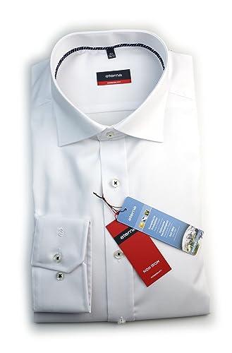 ETERNA Herren Langarm Hemd Modern Fit weiß strukturiert mit Piping 8225.00.X177