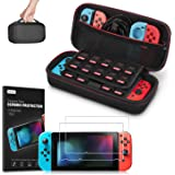 Carrying Case for Nintendo Switch with 2 Pack Screen Protector, Younik Protective Hard Portable Travel Carry Case for 19 Game Cartridges and other Nintendo Switch Console & Accessories