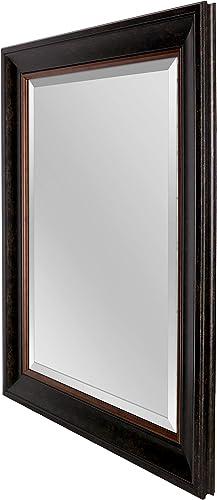 Mirrorize Rectangular Framed Beveled Wall, 24 x 30 , Brown Bronze Finish