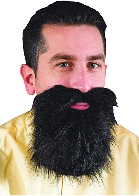 Black Mustache /& Long Beard Costume Accessory One Size