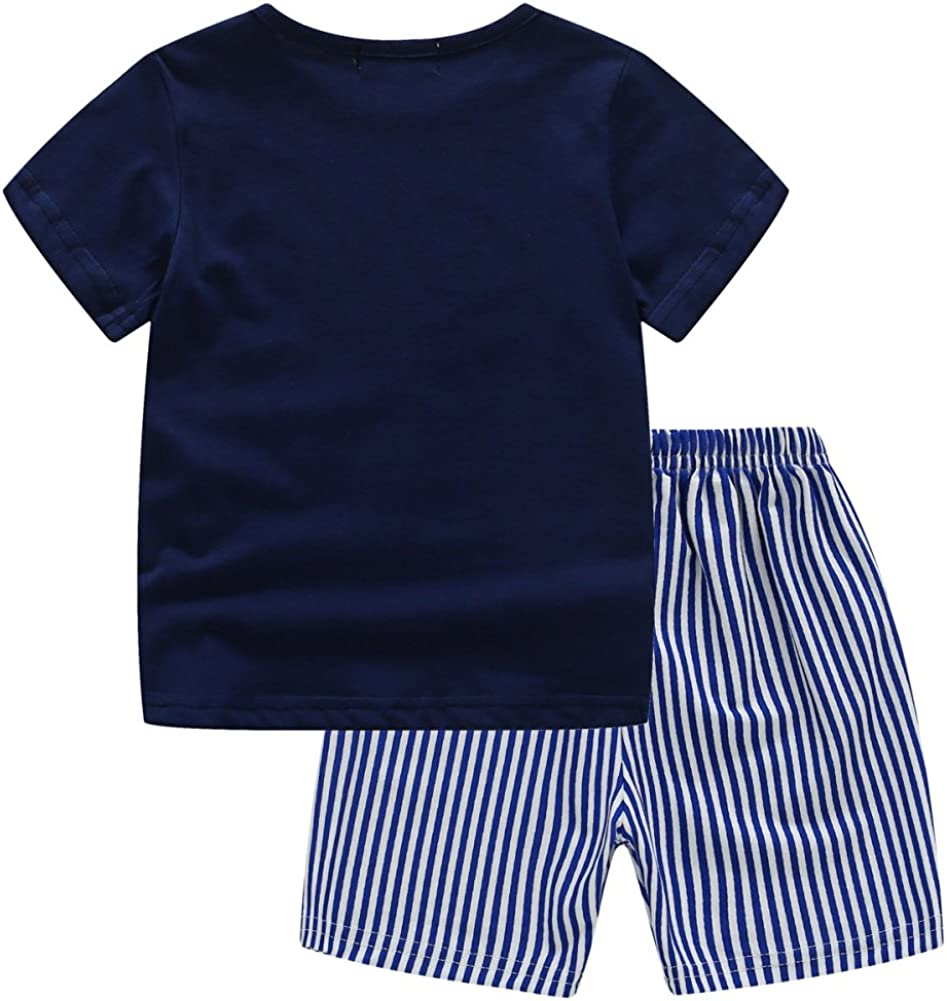 BOBORA Baby Boy Kids Summer Clothes Set Cartoon Whale Short Sleeved Tops with Elastic Striped Short Pants