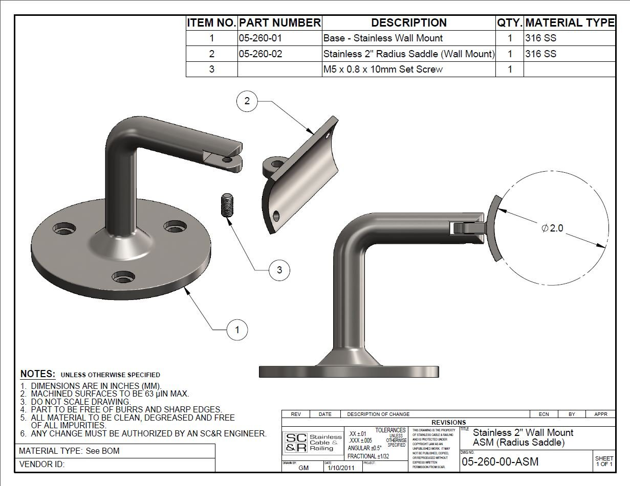 Stainless Steel Wall Mount with Adjustable Radius Saddle Used to Support / Mount 2'' OD Round Top Rail