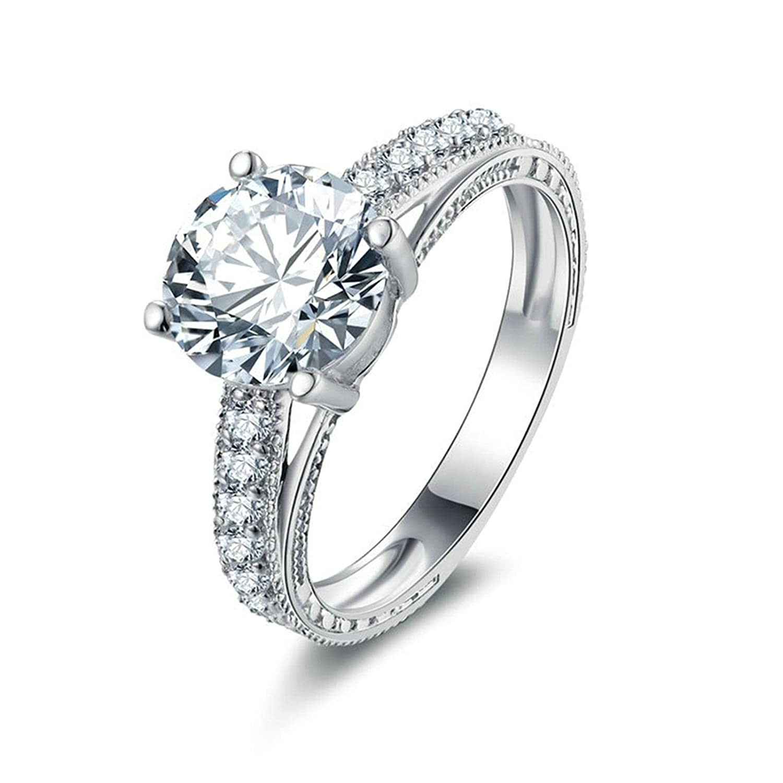 AmDxD Jewelry Girls Engagement Rings 4-Prong Set White Cubic Zirconia Single Row CZ Brilliant CZ 56XJWTQQSR7629