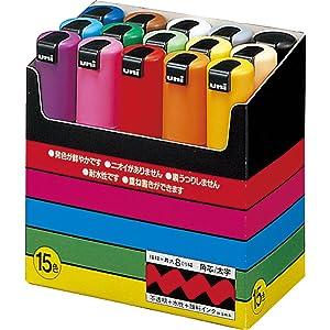 Uni-POSCA PC8K15C Paint Marker Pen Bold Point Set of 15 (Japan Import)
