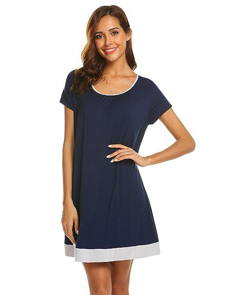 a5d388cddc Ekouaer Sleepwear Cotton Short Sleeve Lounger midi Nightgowns for ...