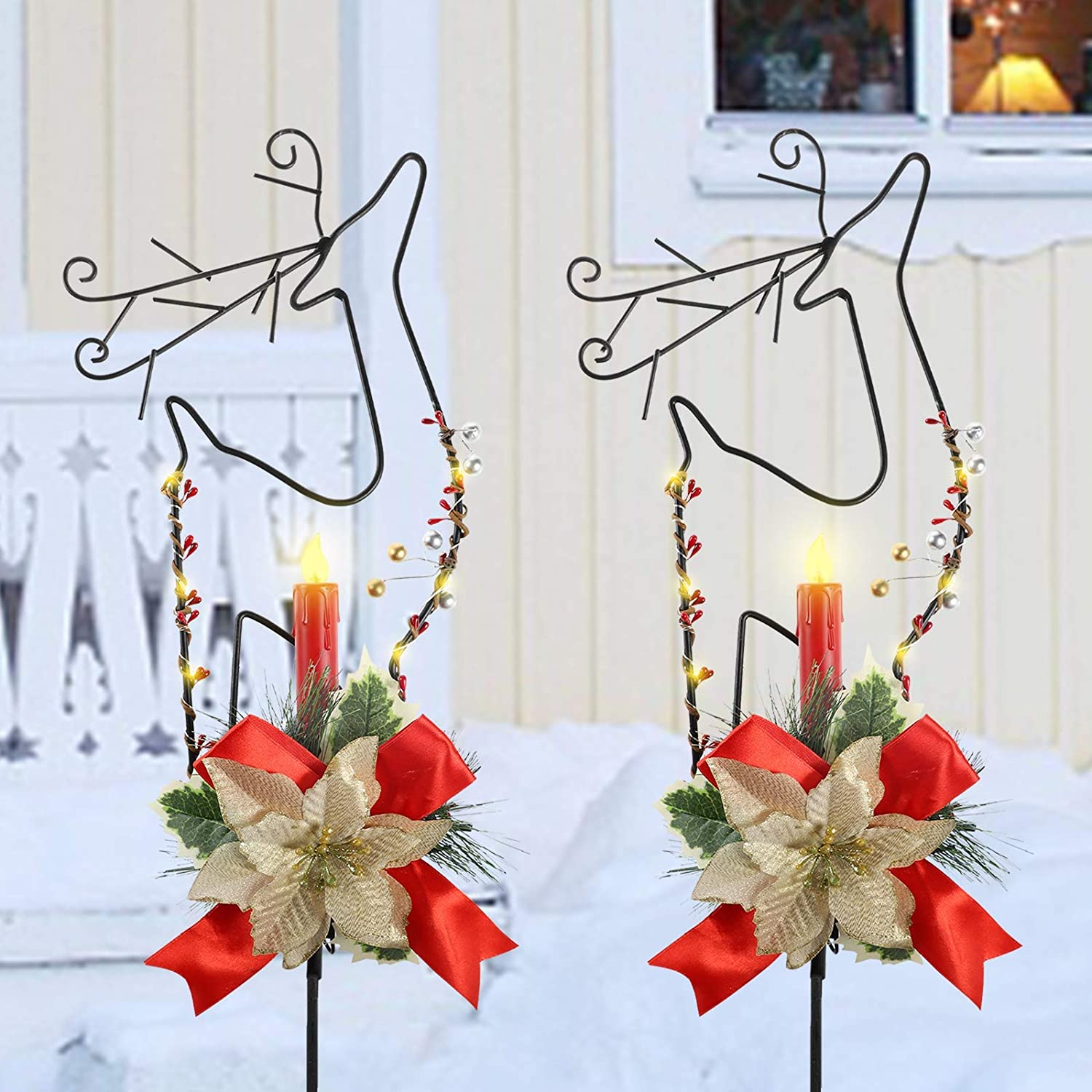MorTime 2 Pack Christmas Garden Stakes Decor, Metal Reindeer Yard Stake with LED Lights for Home Outdoor Yard Lawn Pathway Walkway Driveway Christmas Holiday Winter Decoration