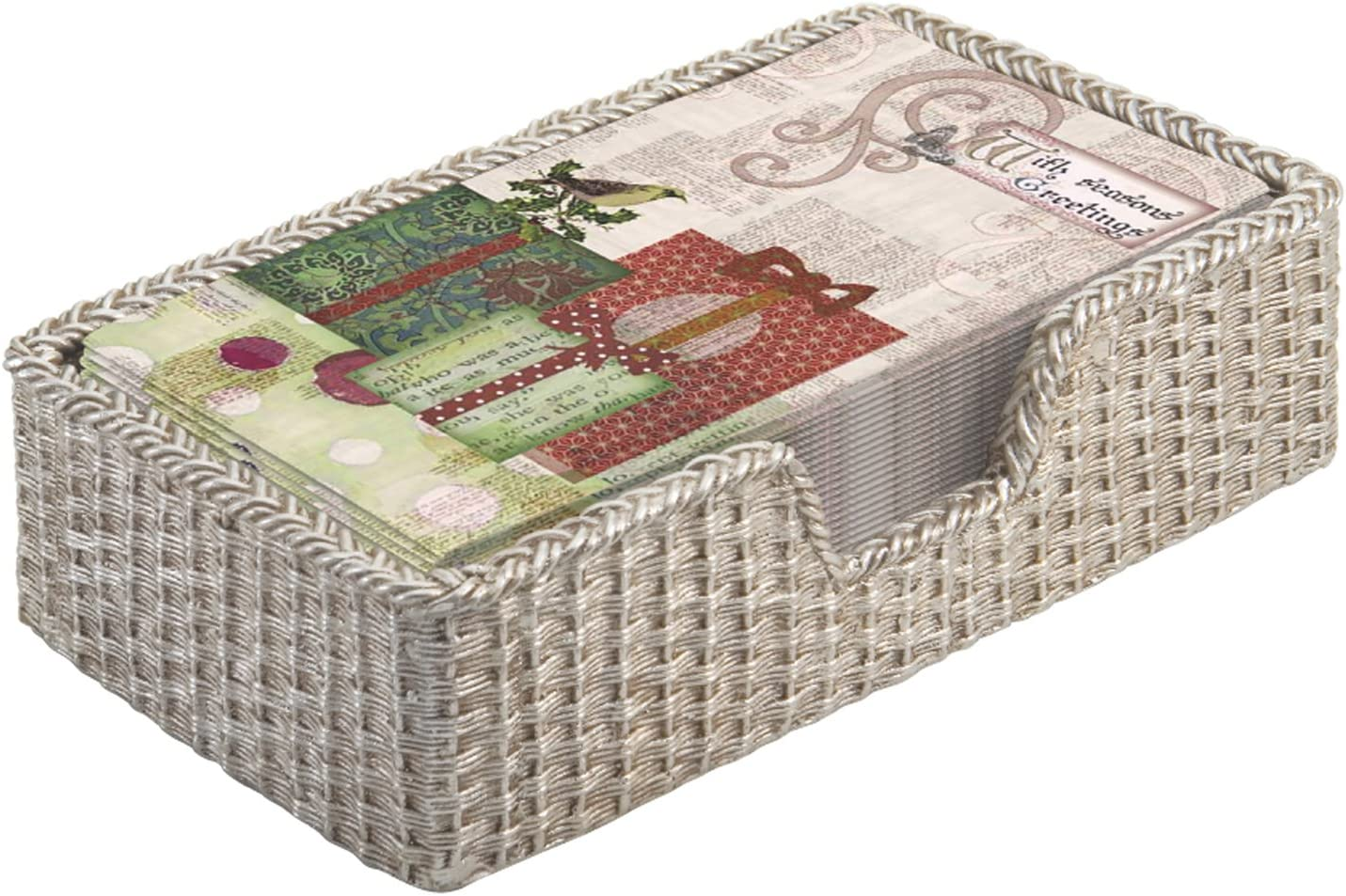 October Hill Guest Towel Caddy, Basket Weave Silver