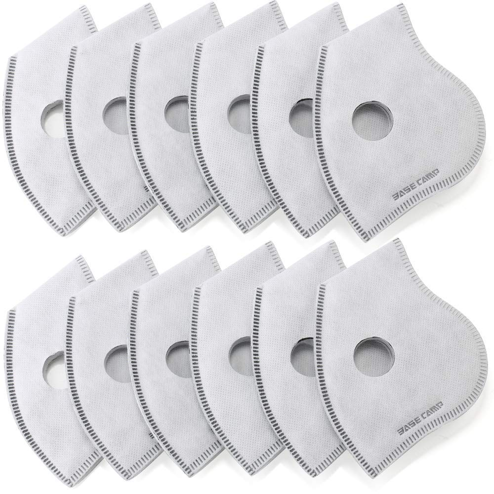 BASE CAMP Activated Carbon Replacement Filters Only for M Plus or M Cross Mask, 12 Pack