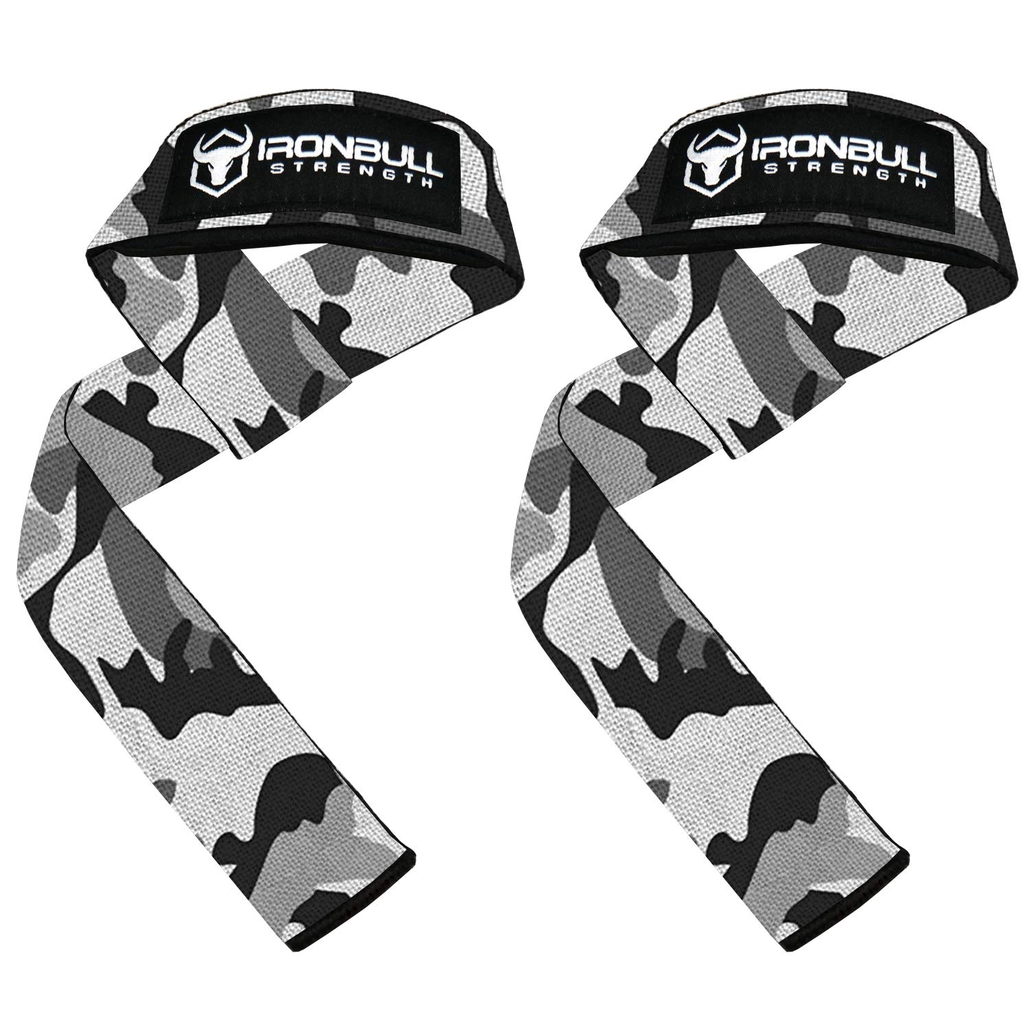 Lifting Straps (1 Pair) - Padded Wrist Support Wraps - for Powerlifting, Bodybuilding, Gym Workout, Strength Training, Deadlifts & Fitness Workout (Camo/White)