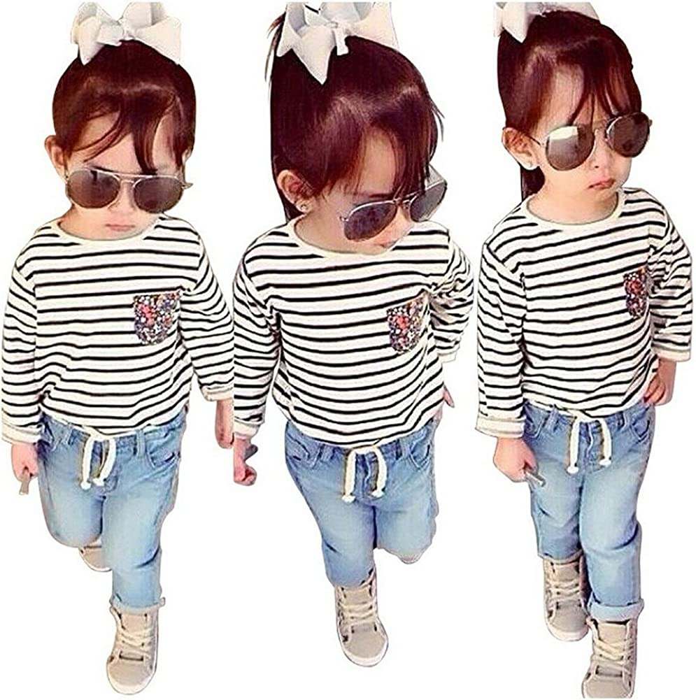 Vogholic Little Girls Casual Long Sleeve Striped T-Shirt Jeans 2 Piece Set