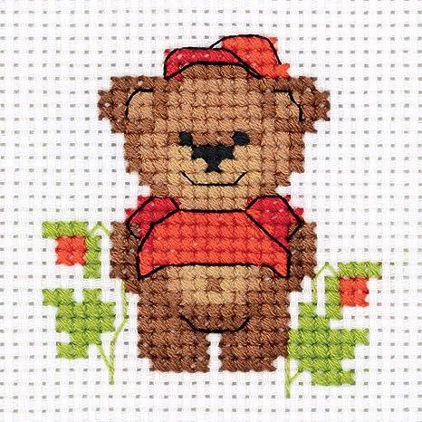 "Counted 3.5/"" x 3.75/"" Small Animal Cross Stitch Kits for Beginners Cross Stitch Kits for Adults Fun Needlework Pattern DIY Cross Stich Kit KLART Embroidery Kit Baby Bear 9 x 9.5cm"