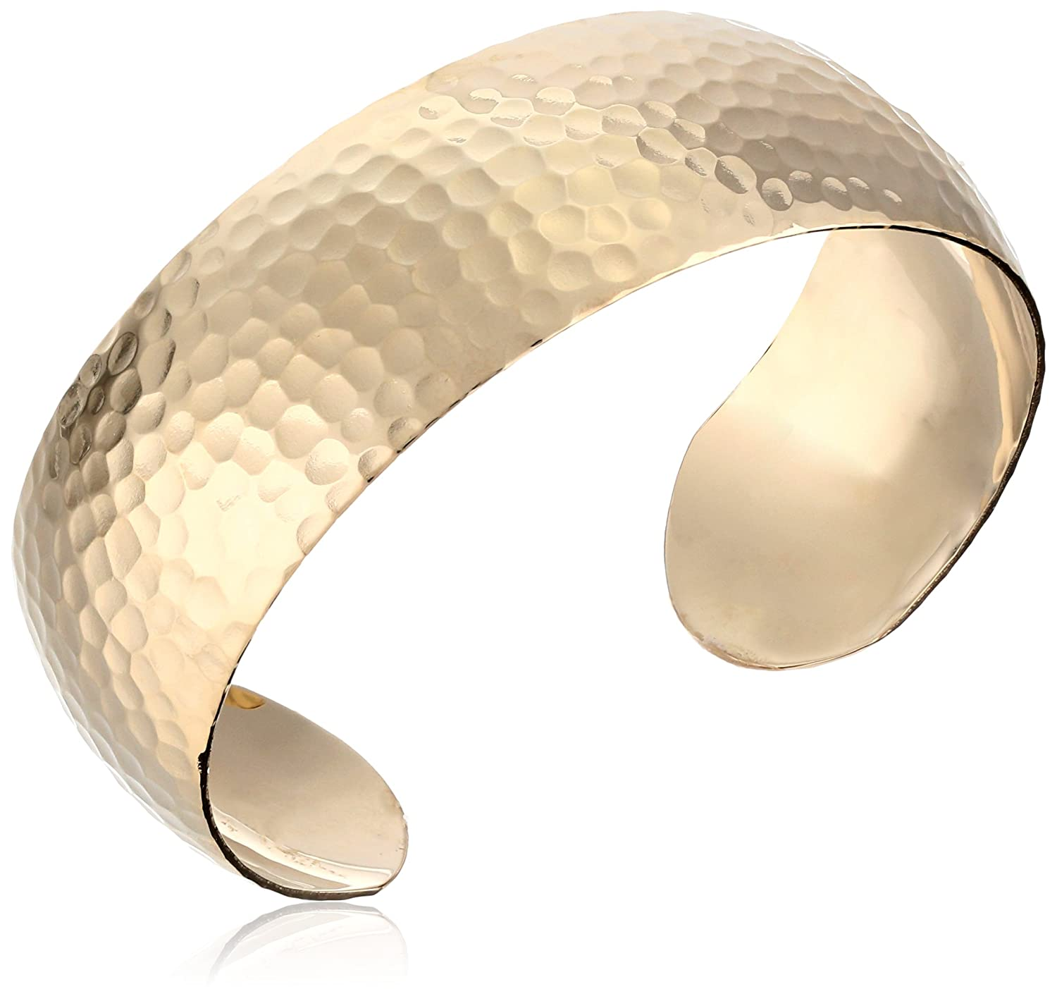 14k Gold-Filled Wide Hammered Cuff Bracelet