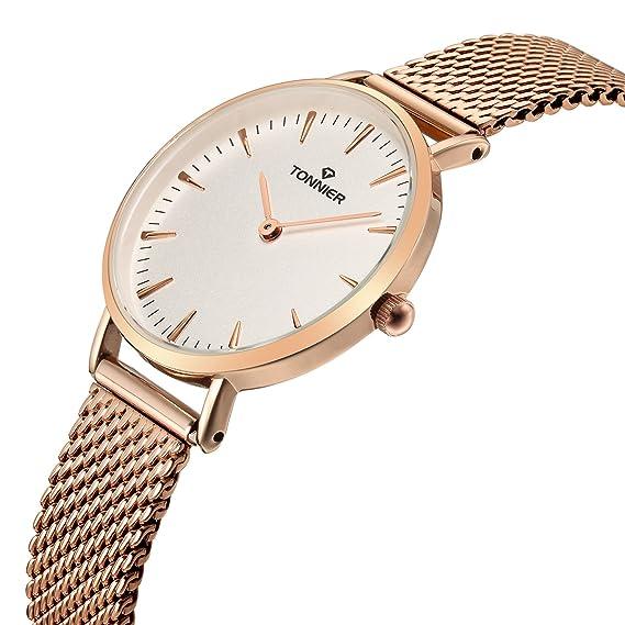 Tonnier Relojes Mujer Slim Acero Inoxidable Correa de malla de cuarzo reloj de malla (oro