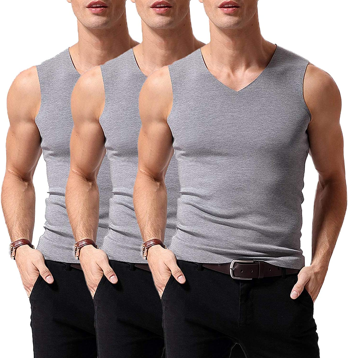 Elastic Undershirts with Fleece Lined Warmfort Mens Seamless V-Neck Thermal Tank Top