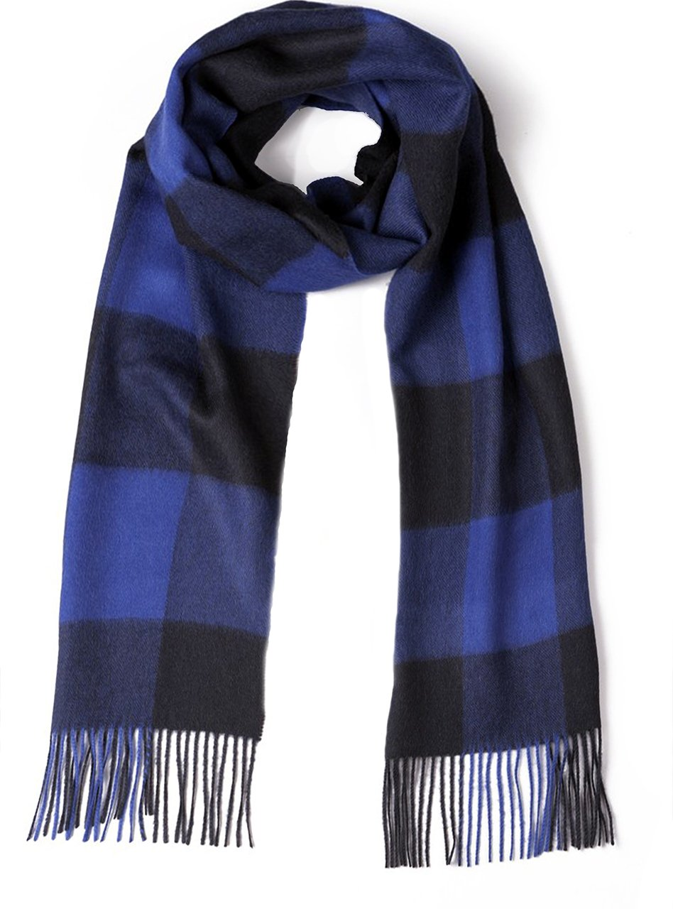 100% Pure Baby Alpaca Buffalo Plaid Scarf for Men and Women (Blue / Gray)