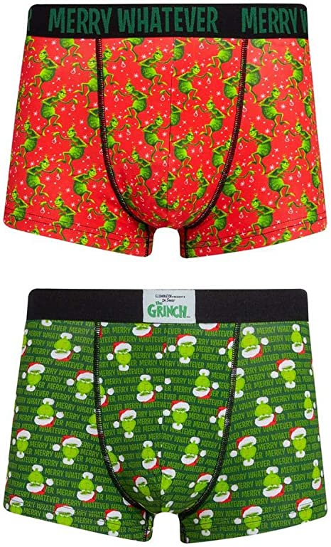 Primark Store The Grinch Merry Whatever 2 Pack Hipsters Trunks Red Green White M: Amazon.es: Ropa y accesorios