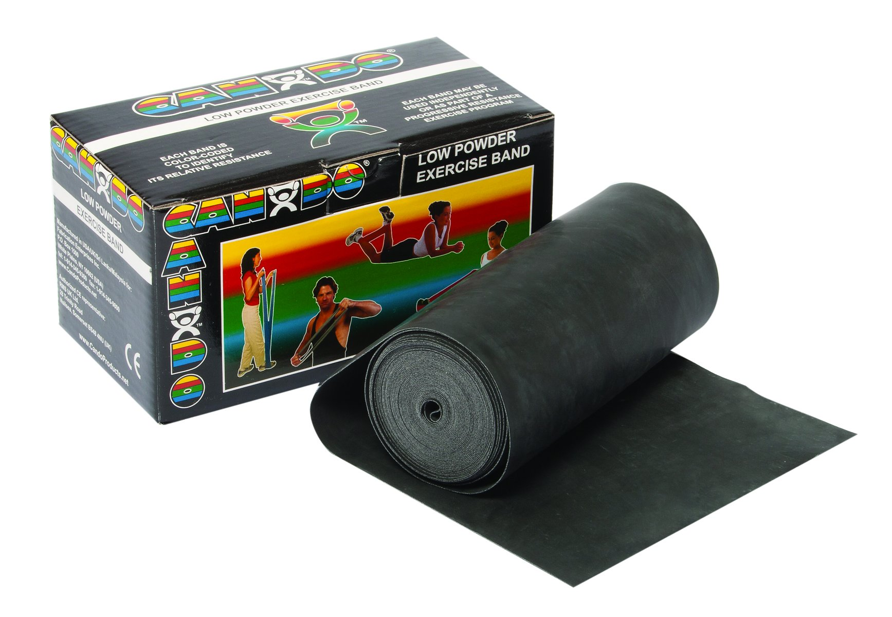 CanDo Low Powder Exercise Band, 6 yard Roll, Black: X-Heavy