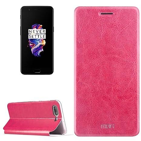 OnePlus 5 Flip Cover, Color rosa, función de soporte para uso de TV/