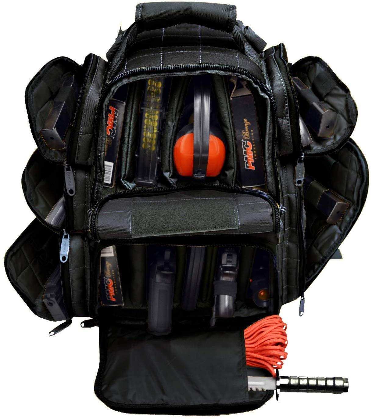 EXPLORER Backpack + Range Bag with Large Padded Deluxe Tactical Divider and 9 Clip Mag Holder - Rangemaster Gear Bag (black),20'' x 12.5'' x 10'' by Explorer