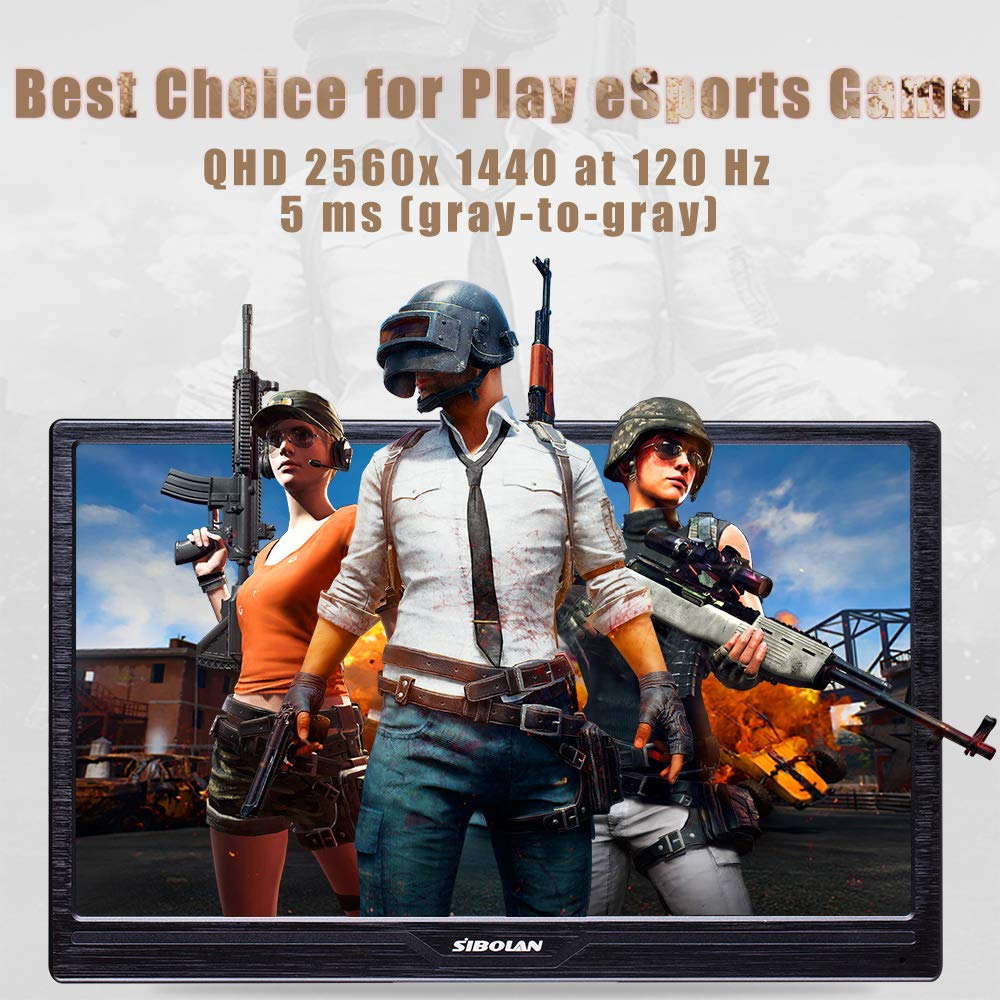SIBOLAN S17 17.3 inch Gaming Portable Monitor HDR 2560 1440 120Hz 5ms with Dual HDMI Mini Input Build in Speaker Luxury Aluminum Alloy Shell