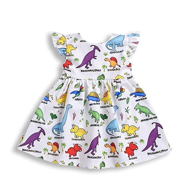 Kids Baby Girls Animal Printed Tunika Dress Short Sleeve Striped Summer Sundress
