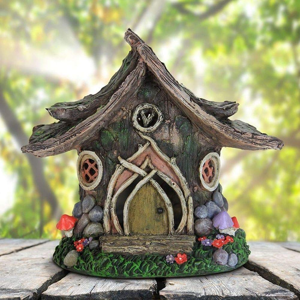Mini Fairy Garden House - Miniature Dollhouse Fairy Garden Solar Wooden House