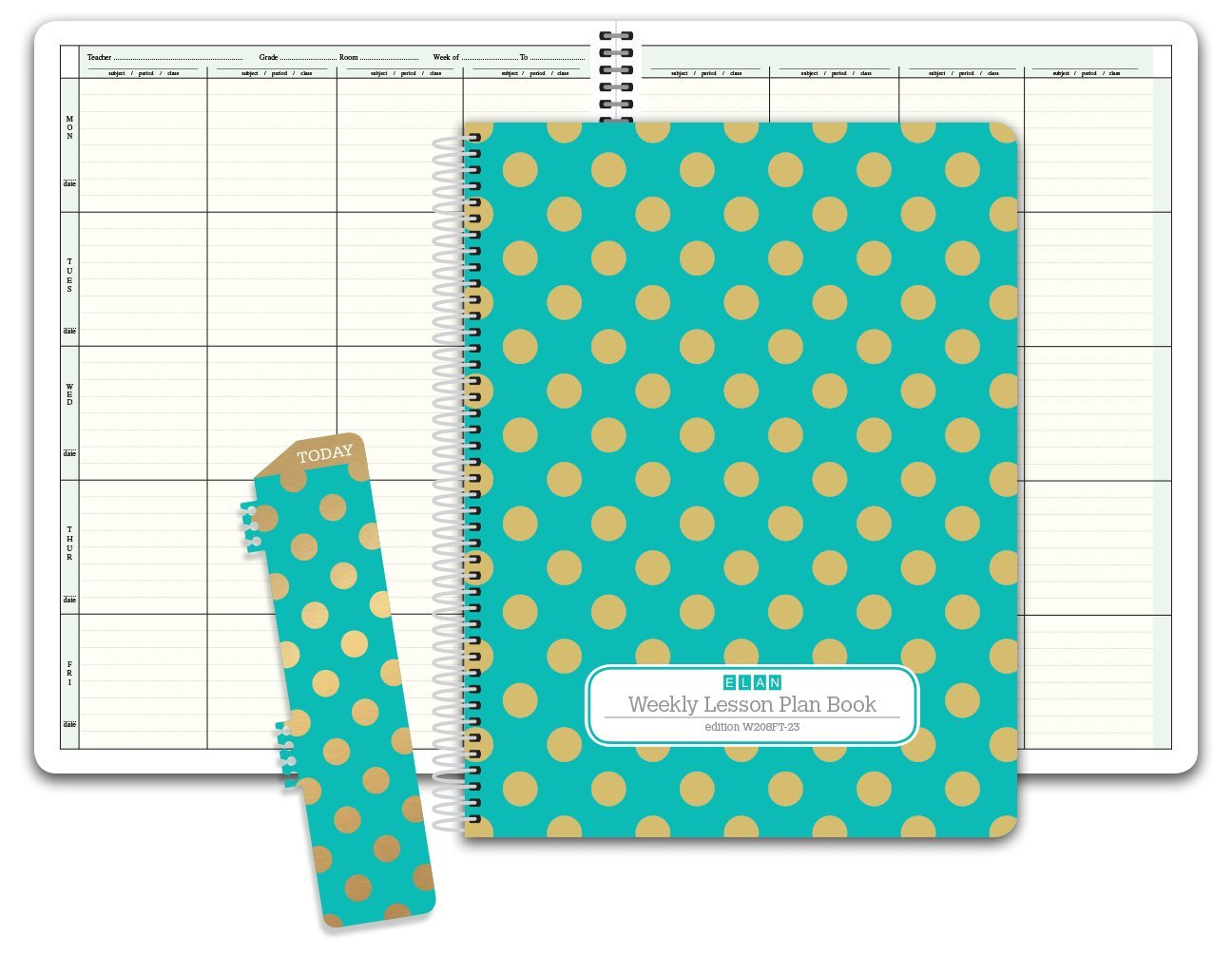 photograph relating to Teacher Plan Books named HARDCOVER 8 Time period Instructor Lesson System; Times Vertically Down the Facet (W208) (+) Reward Clip-inside of Bookmark (Gold Dots Turquoise)