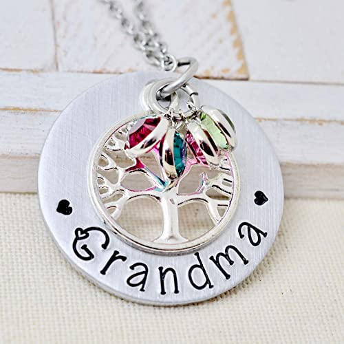 Floral Necklace Mother/'s Day Gift Birth Stones Customized Mothers Necklace Grandmother/'s Gift