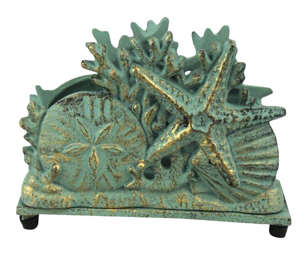 Antique Gold Cast Iron Seashell Napkin Holder 7 Inch - Seashell Decoration - Beach Kitchen Decorating Handcrafted Nautical Decor K-1408-gold