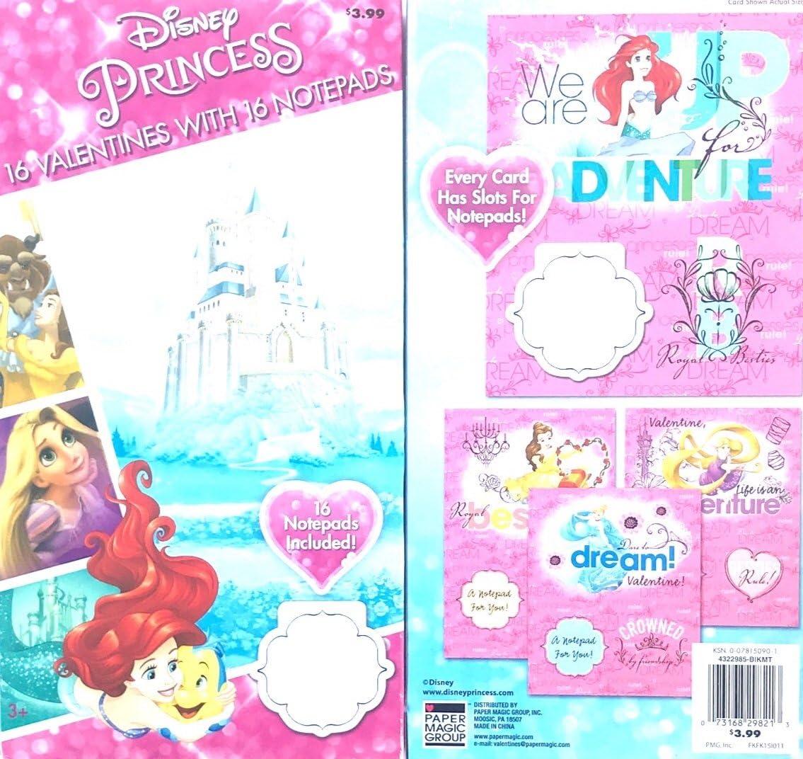 16 Dinsey Princess Valentines DayカードW / 16ノートパッドアリエル、ベル、ラプンツェル、シンデレラ