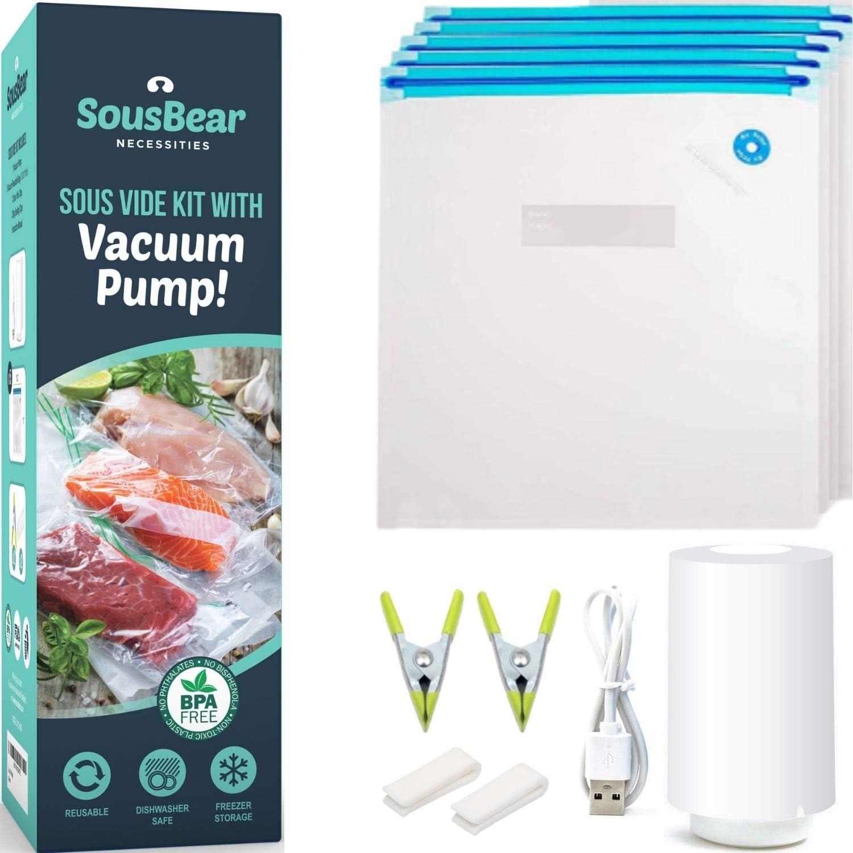 10 Pack Food Vacuum Sealer Bags with Hand Pump BPA-Free fits Foodsaver Sous Vide