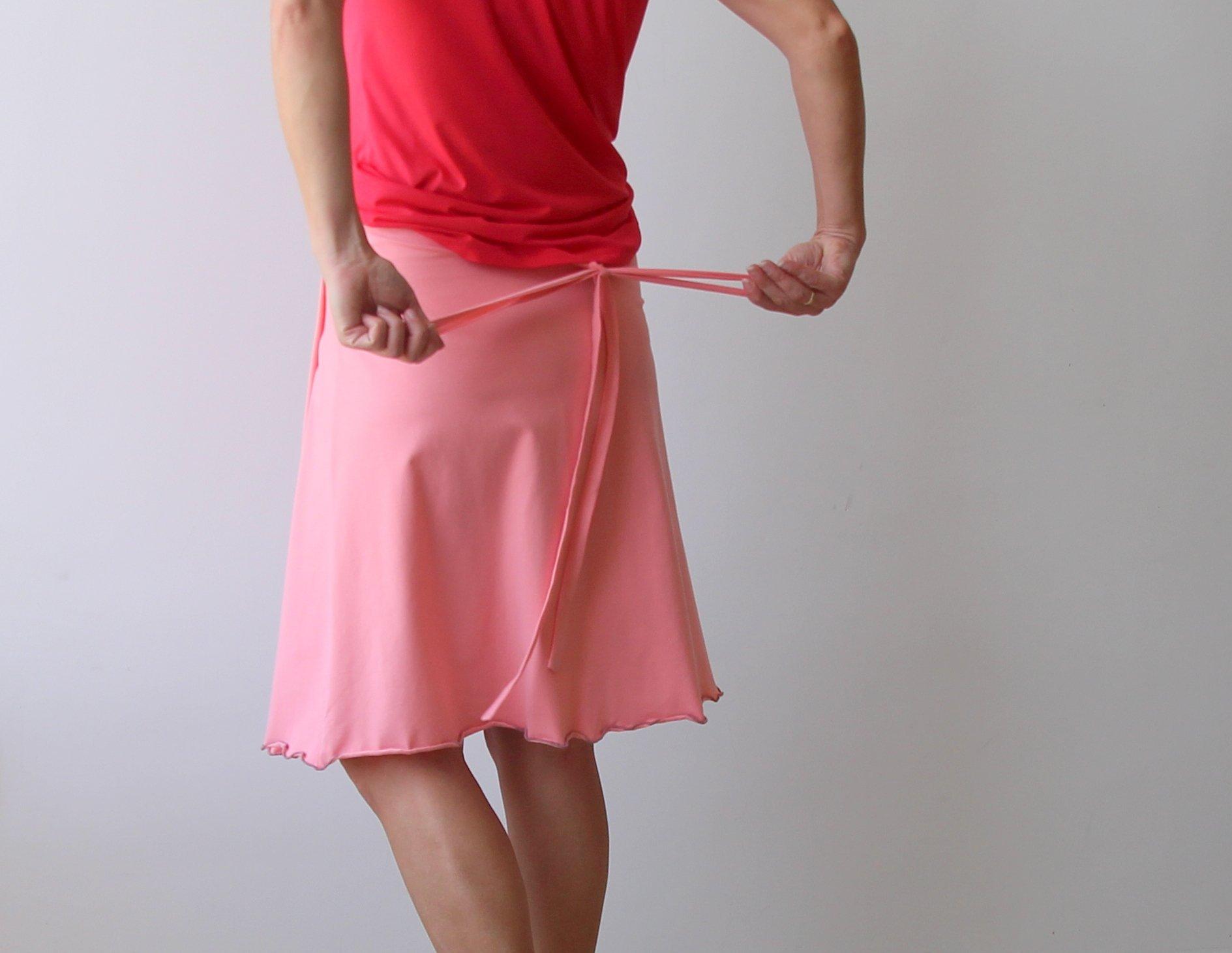 Wrap skirt, Cotton lycra skirt, Summer skirt, Pink skirt, Handmade skirt