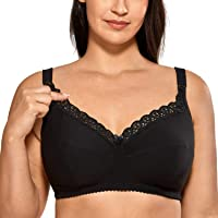 Gratlin Women's Cotton Wirefree Soft Maternity Nursing Bra with Lace Trim