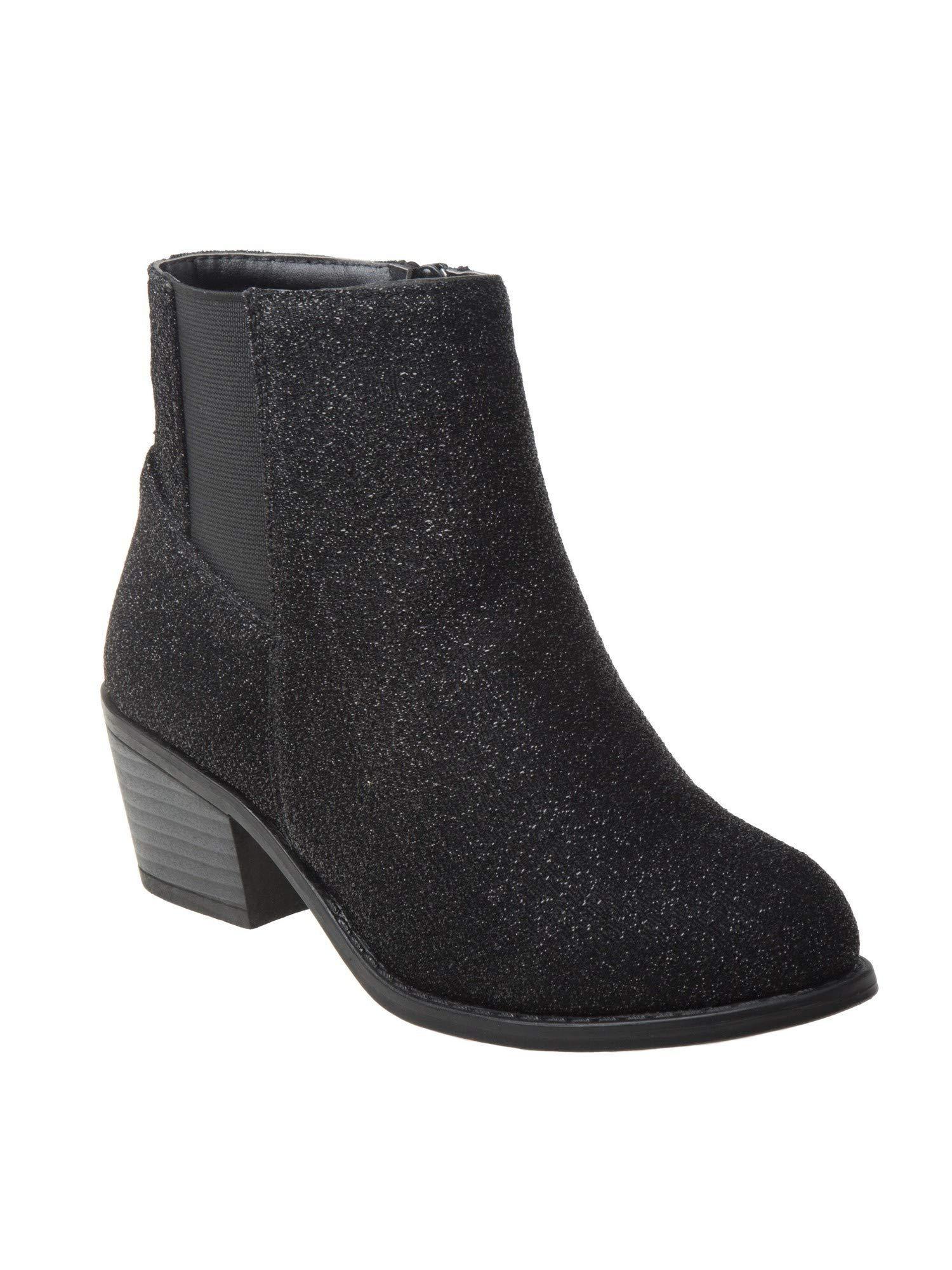Nanette Lepore Girls Black Shimmery Texture Side Zip Chelsea Boots 1 Kids