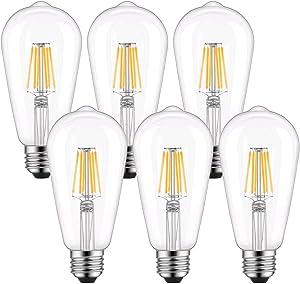 ST64 Vintage Edison LED Light Bulb 60W Equivalent, Warm White 2700K, Kohree 6W Dimmable LED Filament Bulb E26 Base Lamp for Home, Restaurant, Reading Room, 6 Packs