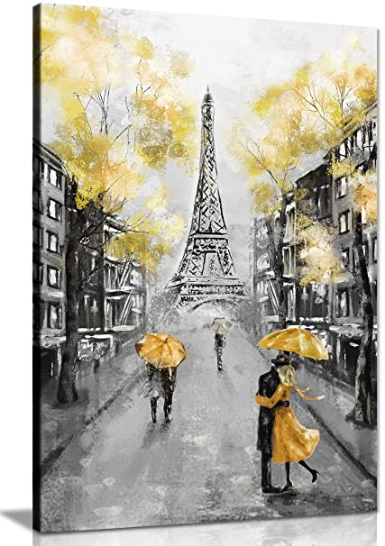 Yellow Black White Paris Painting Canvas Wall Art Picture Print 24x16