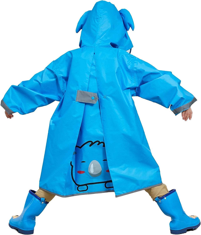 LIVACASA Regenponcho Unisex Wasserdicht Leicht Regenmantel Schulranzen Atmungsaktiv Regenjacke Tasche Outdoor Regen Overall Reflektoren mit Tiermuster Kapuze f/ür Jungen M/ädchen