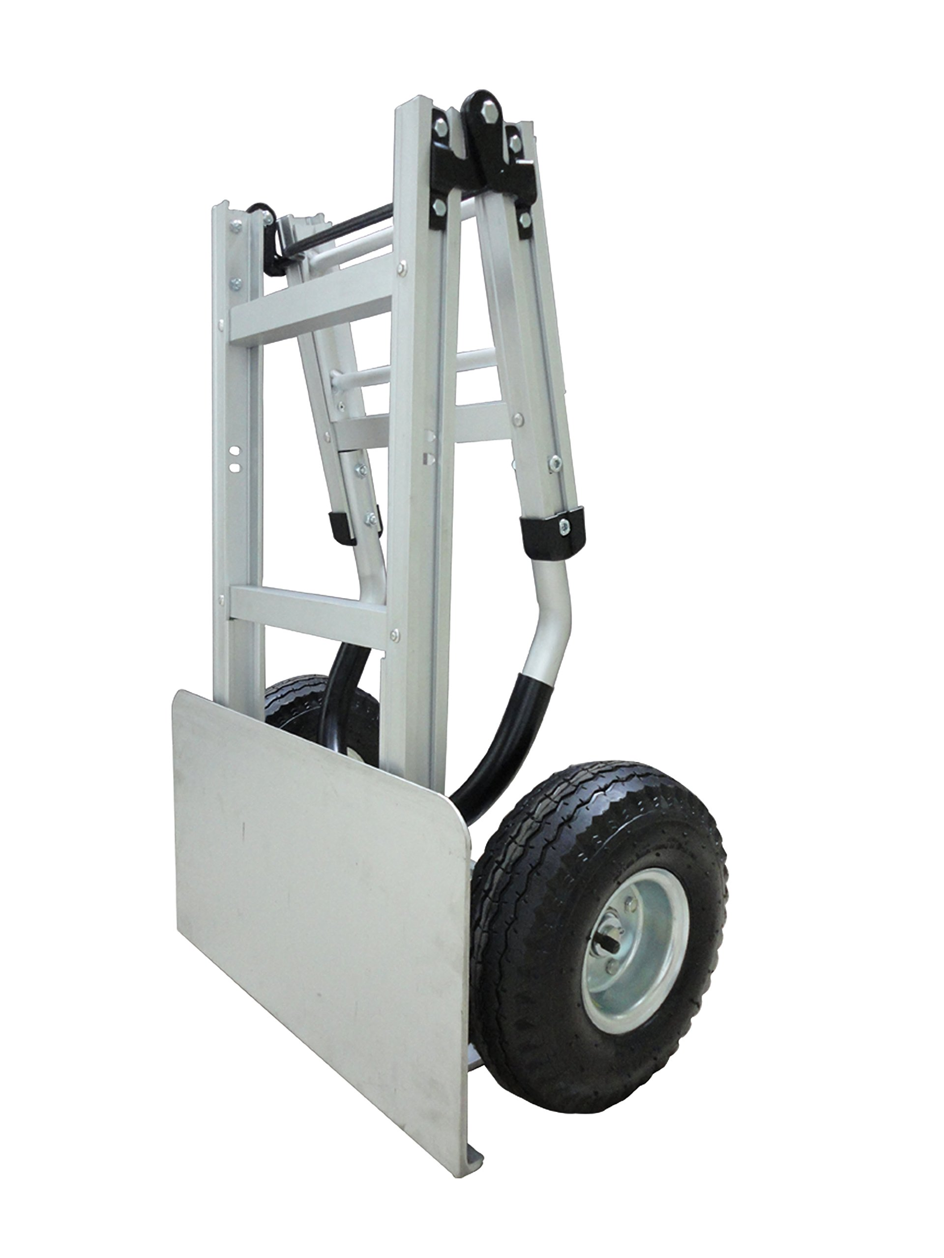 Tyke Supply llc Full Size Aluminum Folding Hand Truck / Dolly Extra Large Nose Plate with Pneumatic Tires