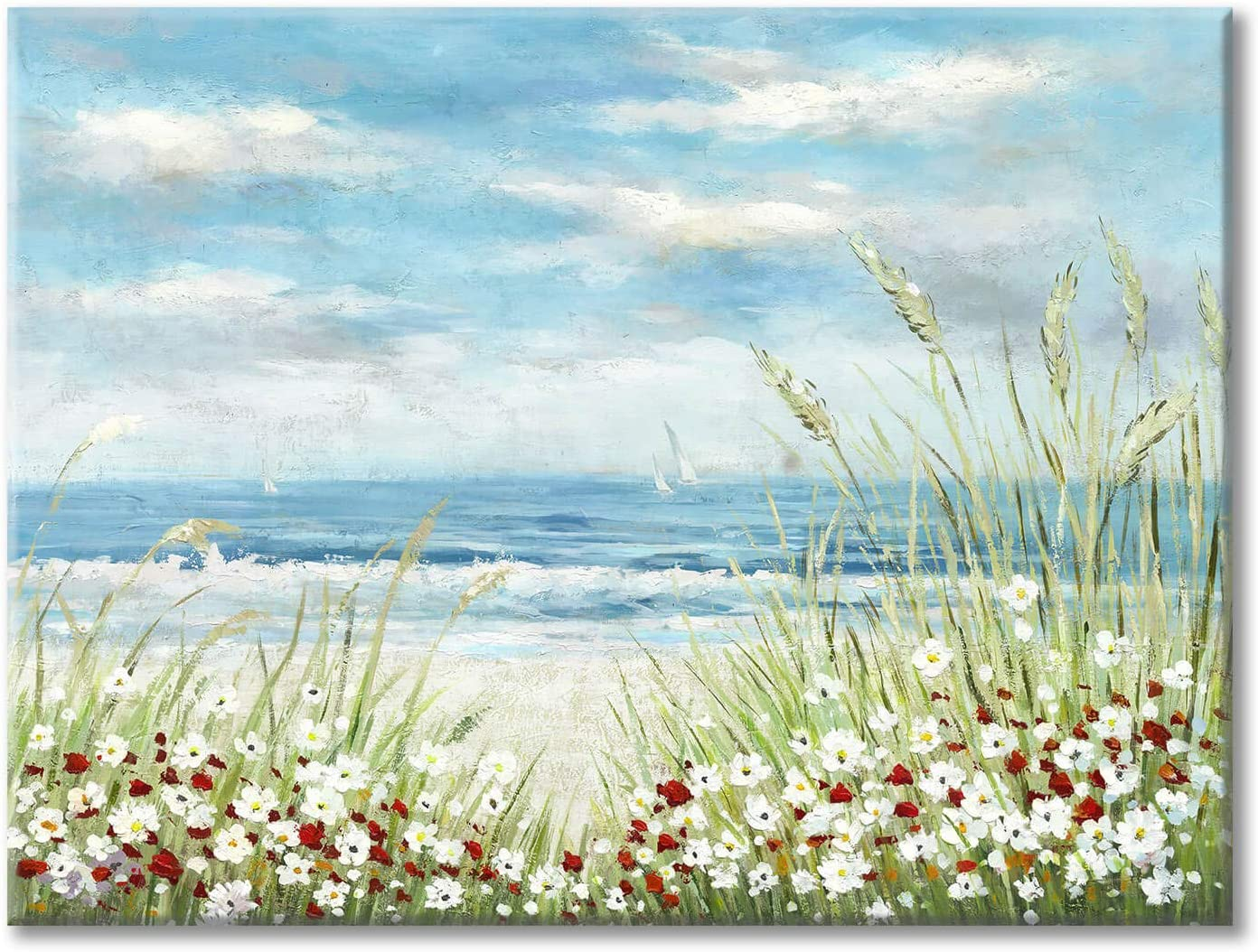 "Beach Scene Canvas Wall Art: Seaside White Wildflower & Blue Ocean Seascape Painting Picture Artwork for Bedroom Wall Decoration (24"" x 18'' x 1 Panel)"
