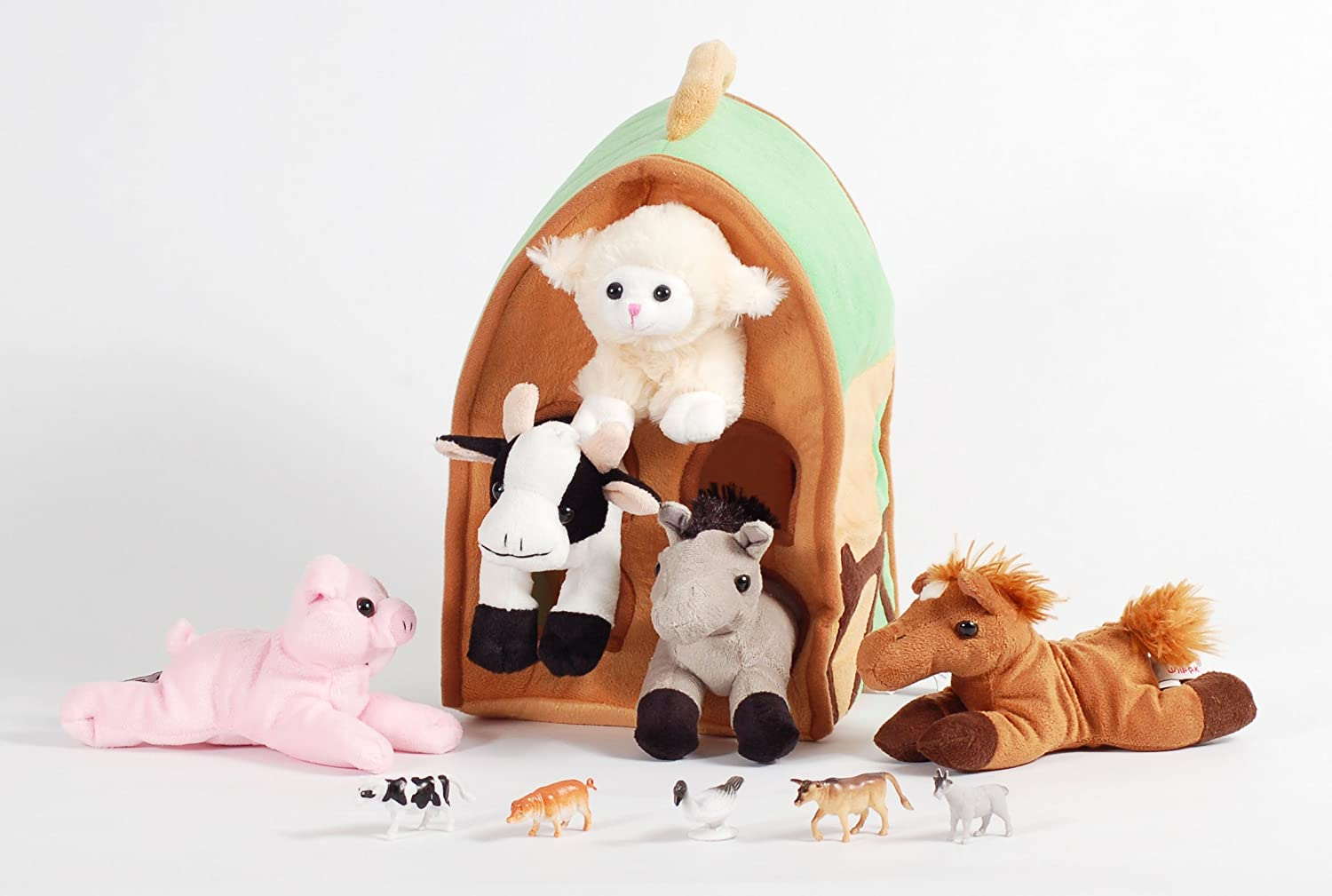 Amazon Com 12 Plush Farm House Playset With 5 Stuffed Animals