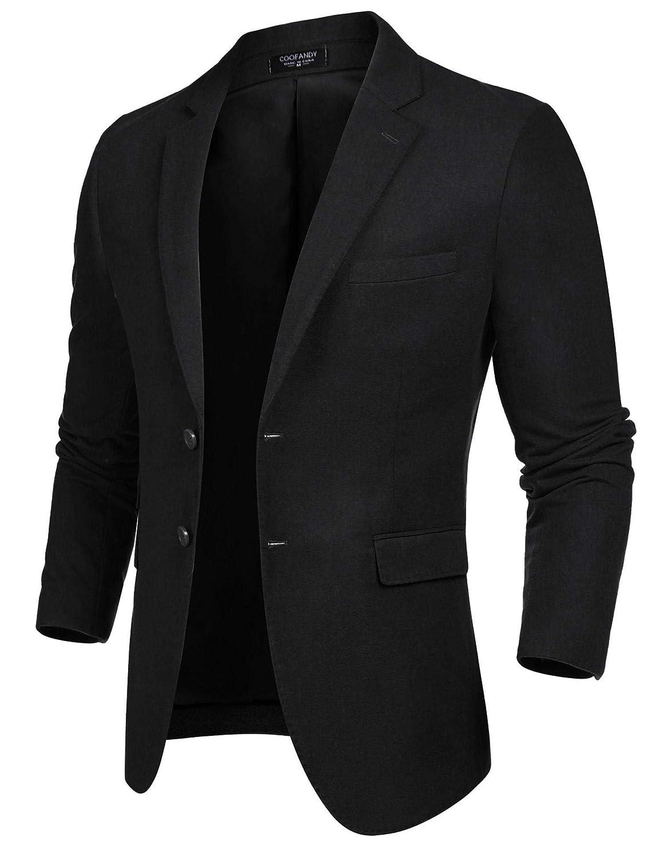 COOFANDY Men's Slim Fit Tweed Suit Blazer Jacket Two Button Casual Sport Coat ZX0179