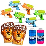 All in One Summer Party Bundle Pack for Kids - Bubbles Set of 2x Animal Bubble Gloves with Bubble Solution (Refill Included) - Set of 6 Small Squirt Water Guns Ultimate Fun in the Sun