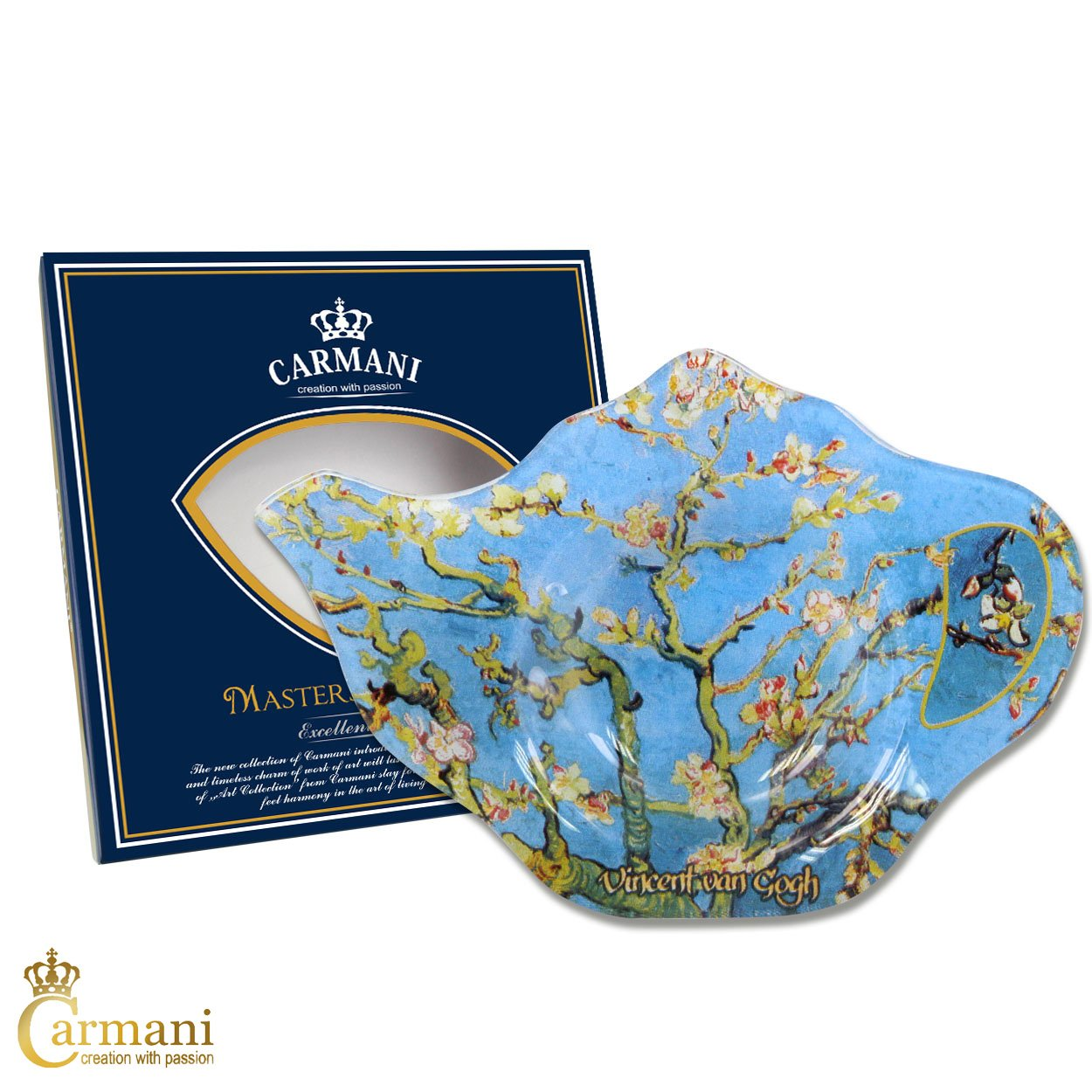 CARMANI - Elegant Glass Tea Bag Holder Dish in Teapot Shape with 'Almond Blossom' by Vincent Van Gogh